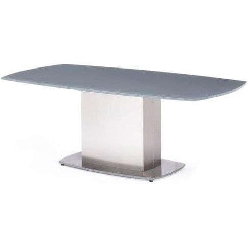 Bolivia Glass Coffee Table In Grey With Brushed Stee...