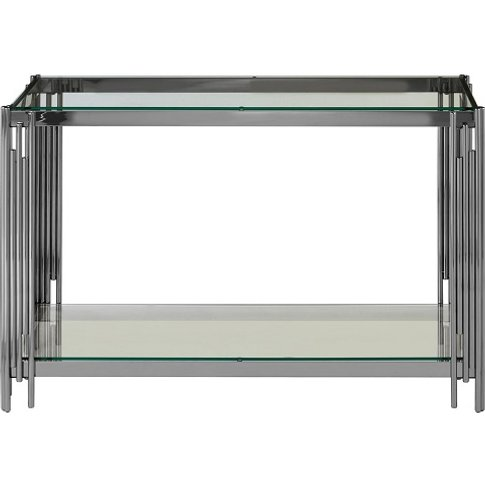 Alhena Glass Console Table With Silver Linear Design...