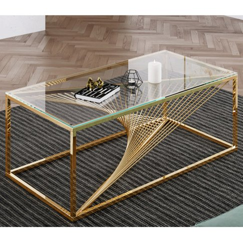 Bolzano Clear Glass Coffee Table With Gold Stainless...