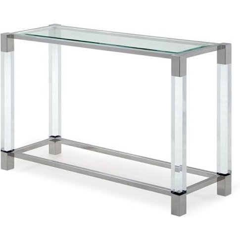 Boston Console Table In Clear Glass And Polished Sta...