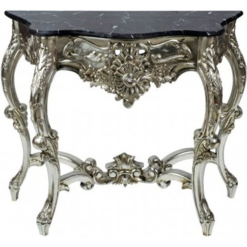 Boule Rectangular Marble Console Table With Champagn...