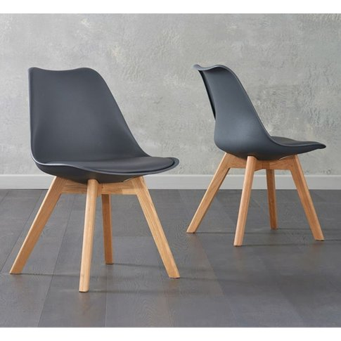 Bertake Dark Grey Faux Leather Dining Chairs In Pair