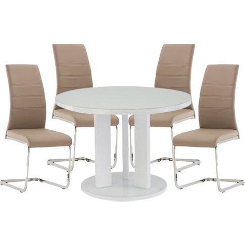 Brambly White Gloss Glass Dining Table 4 Soho Cappuc...