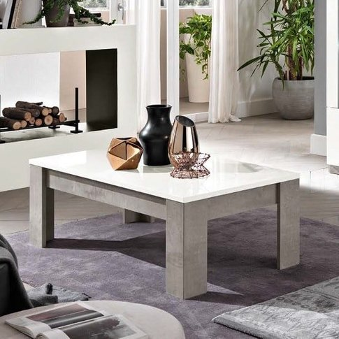 Breta Coffee Table In White High Gloss And Grey Marb...
