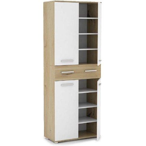 Breva Shoe Storage Cupboard In Artisan Oak And White
