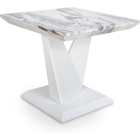 Brezza Gloss Marble Effect Lamp Table With White Leg...