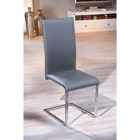 Bronte Dining Chair In Grey Faux Leather With Chrome...