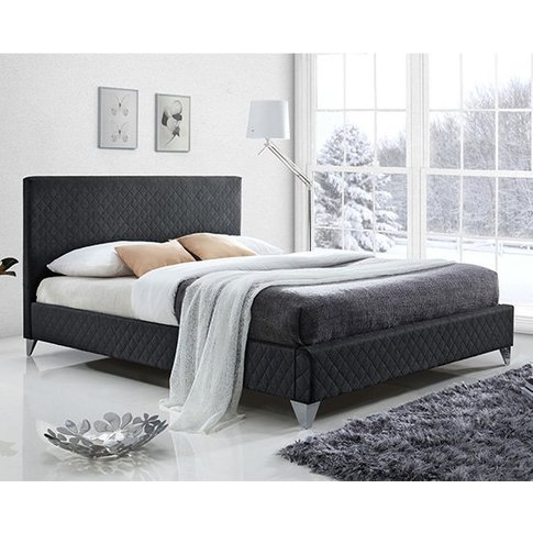 Brooklyn Fabric Upholstered Double Bed In Dark Grey