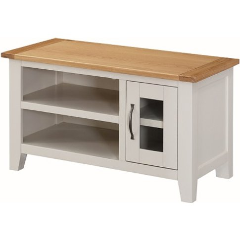 Brooklyn Wooden Tv Stand In Stone Painted With 1 Door