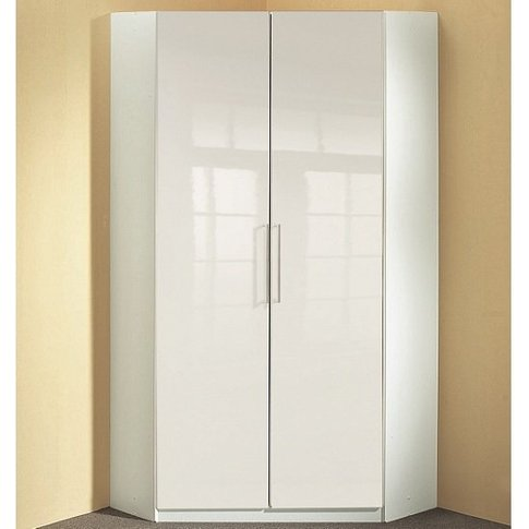 Bruce Corner Wardrobe In White High Gloss Fronts Wit...