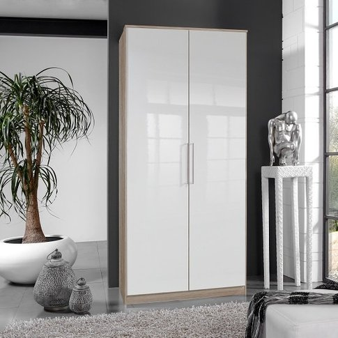 Bruce Wardrobe In Oak Effect With White Gloss Fronts...