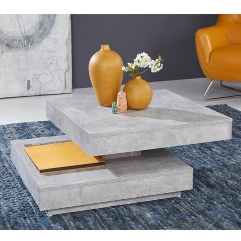 Brunch Wooden Rotating Coffee Table Square In Cement...