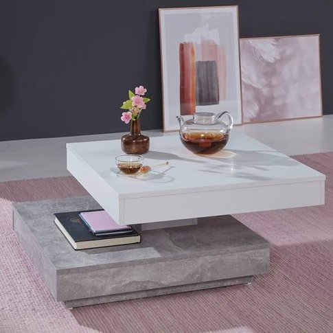 Brunch Rotating Coffee Table Square In White And Cem...