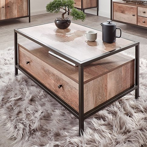 Brunel Coffee Table In Mango Wood Effect With 1 Drawer