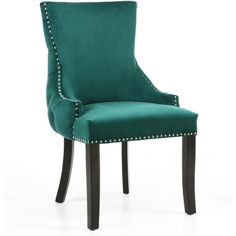 Brusel Accent Chair In Brushed Velvet Green With Bla...