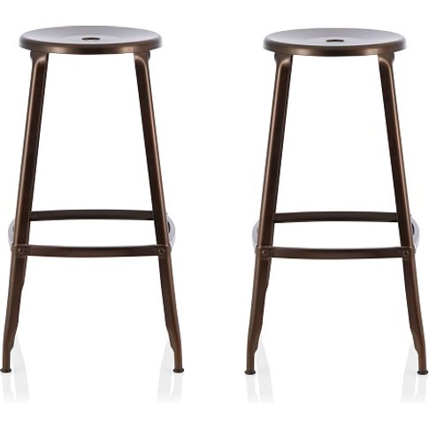 Bryson 76cm Metal Bar Stools In Antique Bronze In A ...