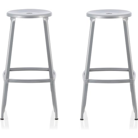 Bryson 76cm Metal Bar Stools In Silver In A Pair