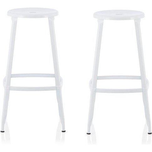 Bryson 66cm Metal Bar Stools In White In A Pair