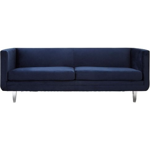Budron Velvel Three Seater Sofa In Dark Blue Finish