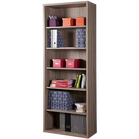 Buren Wooden Tall Bookcase In Truffle Oak