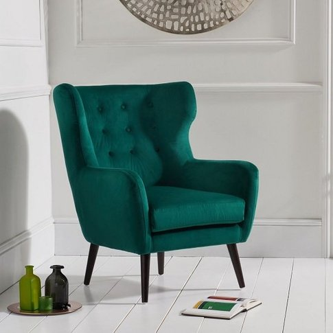 Burnet Modern Accent Chair In Green Velvet With Dark...