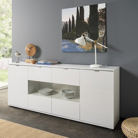 Burton Sideboard In White With High Gloss And 4 Doors