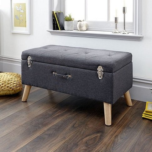 Caballero Fabric Ottoman Storage Bench In Charcoal