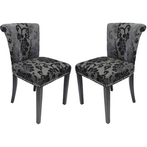 Calgary Baroque Fabric Dining Chair In Charcoal In A...