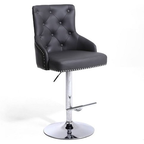 Calico Bar Stool In Graphite Grey With Polished Chro...