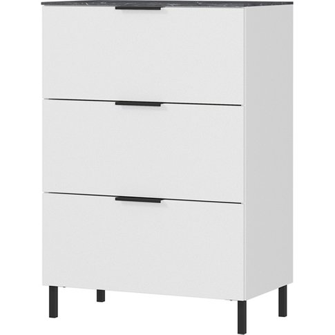California Narrow Chest Of Drawers In White And Maple