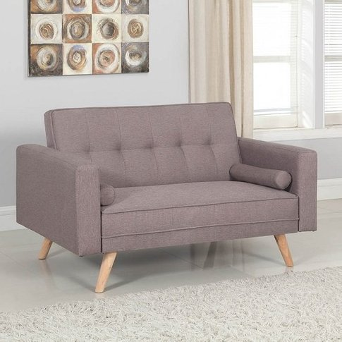 California Modern Fabric Sofa Bed In Grey And Wooden Legs
