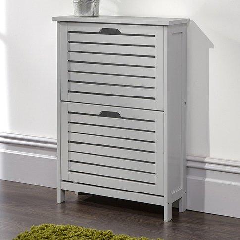 Calino Wooden Shoe Cabinet In Grey With 2 Flap Doors