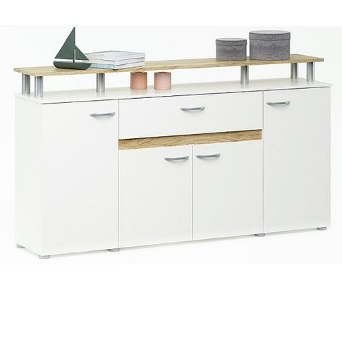 Calvi Wooden Sideboard In White And Brushed Oak With...