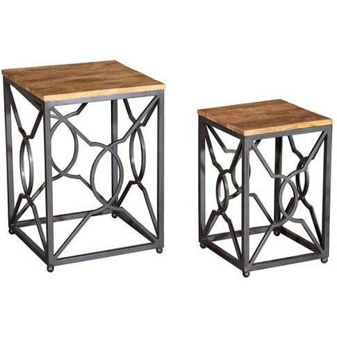 Cambourne Wooden Nest Of Tables In Acacia And Metal ...
