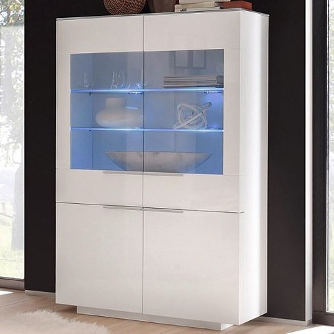 Canberra Display Cabinet In White Glass Top And High...