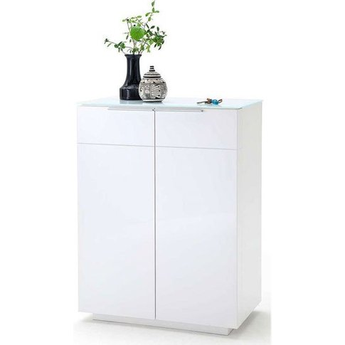 Canberra Shoe Cabinet In Glass Top And White High Gloss