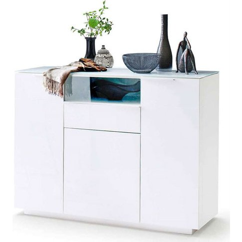 Canberra Wide Shoe Cabinet In Glass Top And White Hi...
