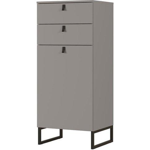 Cancun Narrow Shoe Storage Cabinet In Stone Grey Finish