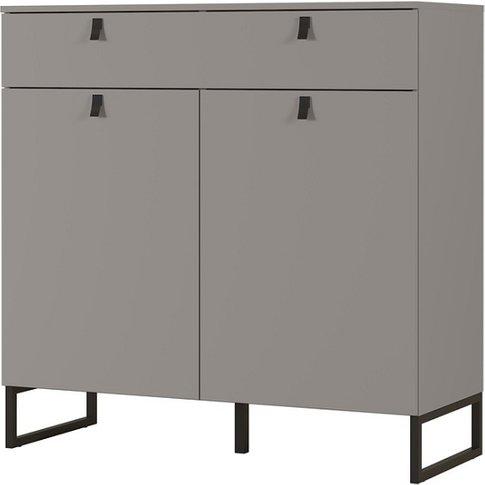 Cancun Wide Shoe Storage Cabinet In Stone Grey Finish