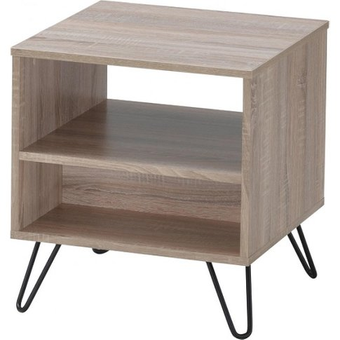 Canell Wooden Lamp Table In Oak Effect With Black Me...