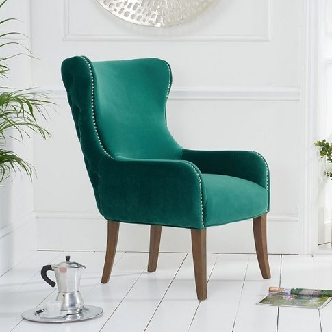 Canning Velvet Accent Lounge Chair In Green With Woo...