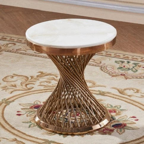Canora Marble Effect Lamp Table In White With Rosego...