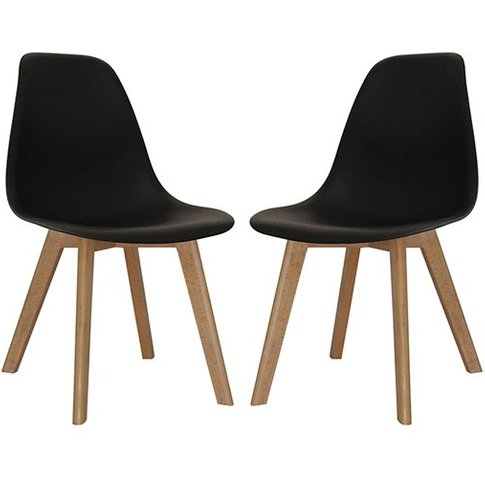 Canum Black Plastic Dining Chairs With Beech Legs In...