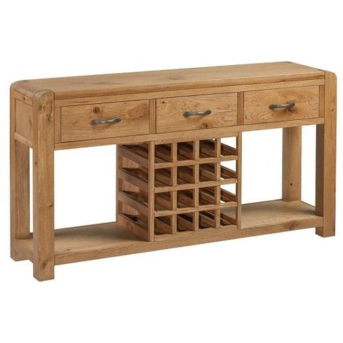Capre Wooden Sideboard In Rustic Oak With Wine Rack