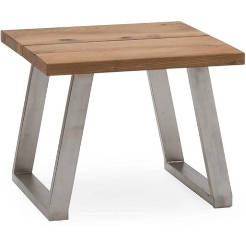 Carey Wooden Lamp Table In Oak With Stainless Steel ...