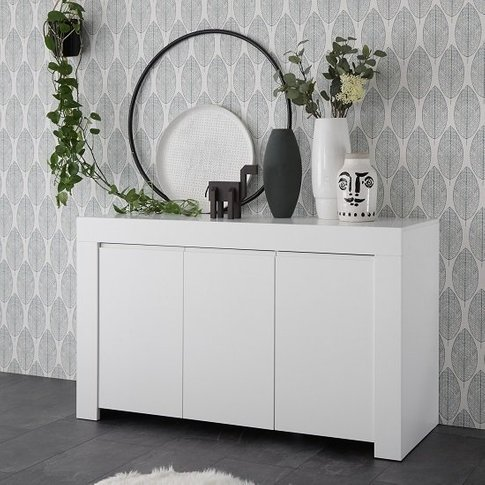 Carney Contemporary Sideboard In Matt White With 3 D...