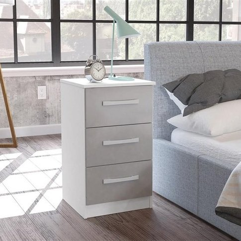 Carola Bedside Cabinet In White Grey High Gloss With...