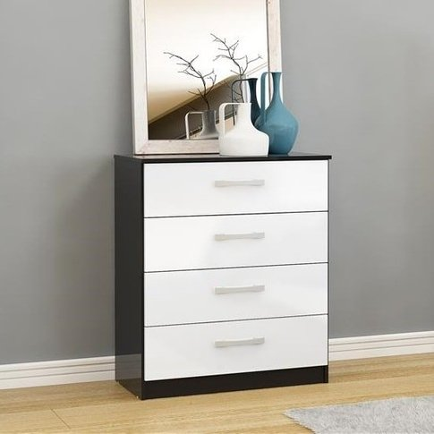 Carola Chest Of Drawers In Black White High Gloss An...