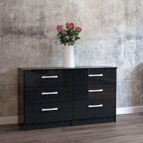Carola Chest Of Drawers In Black High Gloss With 6 D...