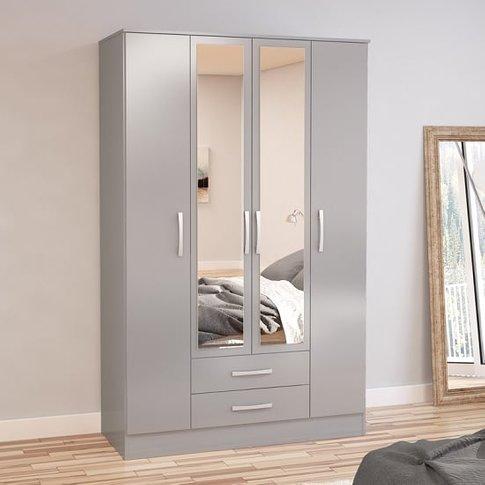 Carola Mirrored Wardrobe In Grey High Gloss With 4 D...